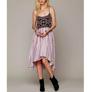 Free people embroidered high low dress, M
